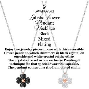 Swarovski Pendant Necklace Flower *Reversible 🦢🌸